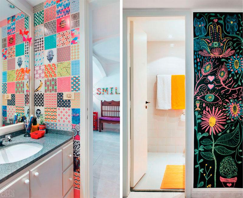 decorar um banheiro pequeno:banheiro pequeno colorido 1