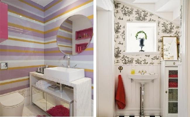 Banheiro pequeno colorido como decorar? Veja sugestões  Moda e ConfortoModa  -> Decoracao De Banheiro Feminino Pequeno