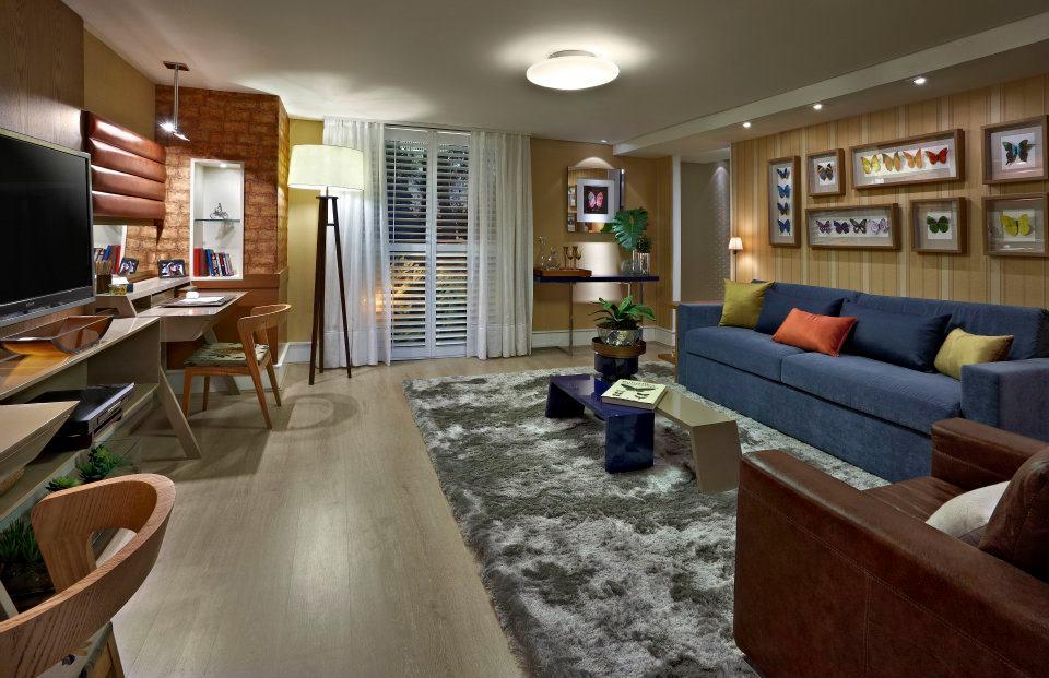 Sala De Estar Wdk Letra ~ Sala decorada com sofá azul  charme e estilo no ambiente  Moda e