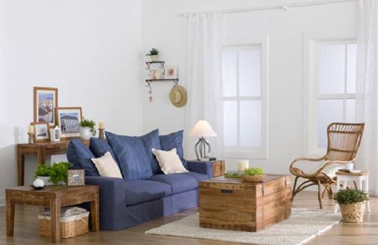 Sala De Estar Decorada Sofa Azul