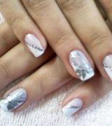 unhas decoradas com glitter prata 1