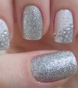 unhas decoradas com glitter prata 5