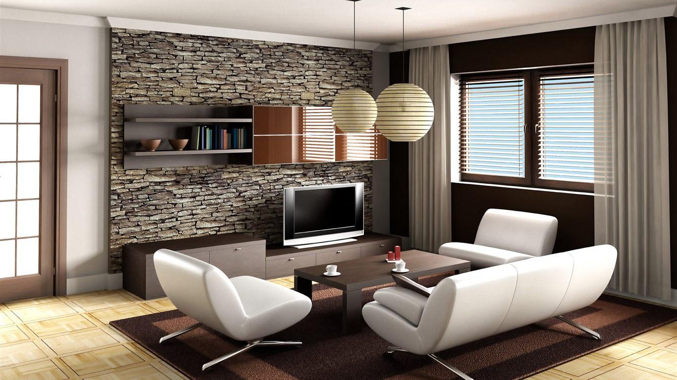 #8D6A3E Fotos de papel de parede em sala muito charme Moda e ConfortoModa e  1366x768 píxeis em Como Decorar Uma Sala De Tv