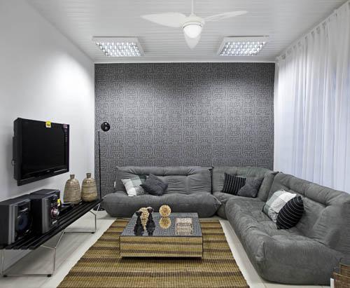 Sala De Tv Parede Cinza ~ Fotos de papel de parede em sala, muito charme  Moda e ConfortoModa e
