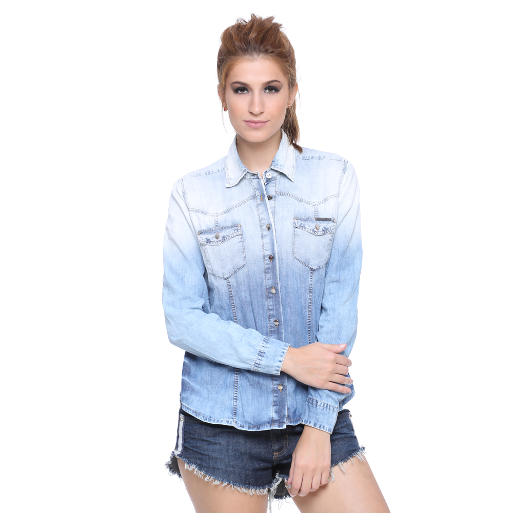 0870d24ac1 Camisa jeans feminina manga longa - look agradável - Moda e ...