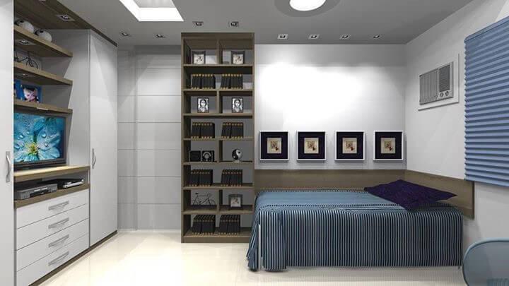 Ideias de quartos planejados espaço, beleza e conforto  ~ Tapete Quarto Juvenil Masculino