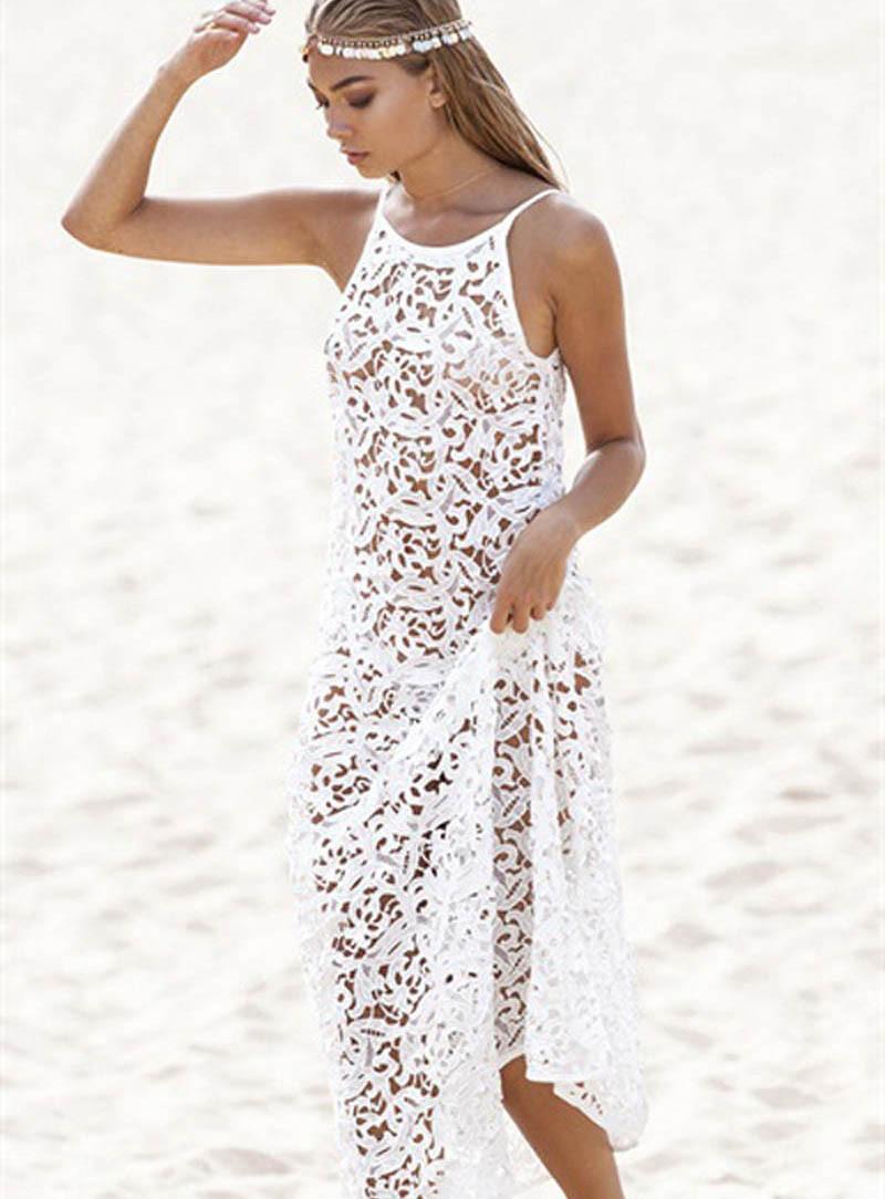 vestidos longos com renda para verao 2ª imagem