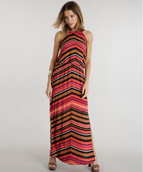 vestido listrado longo colorido