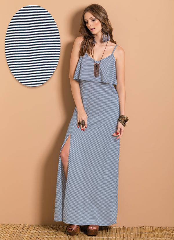 vestido listrado longo suave