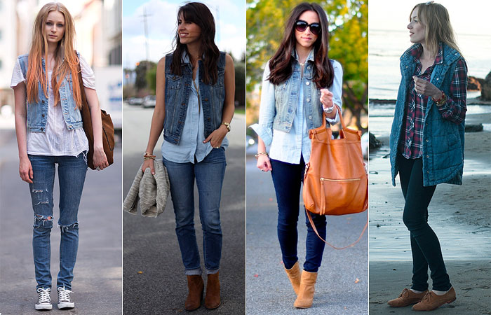 colete jeans com calca jeans