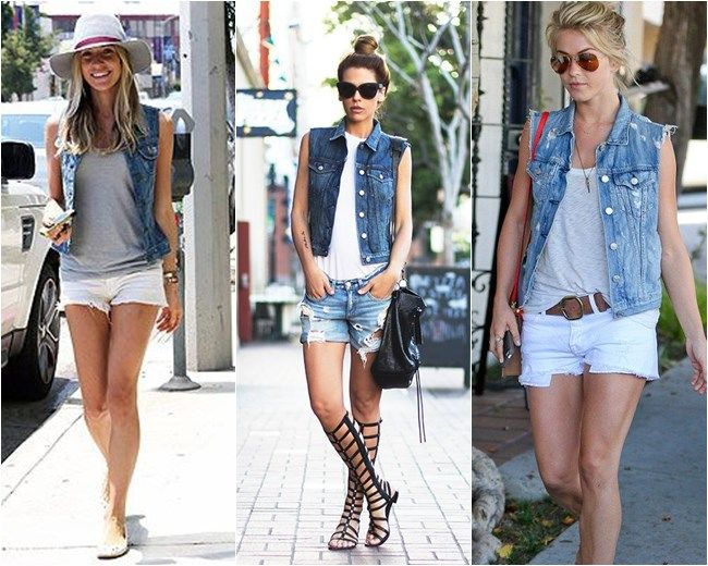 colete jeans com shorts desfiado 12