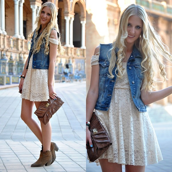 colete jeans com vestido curto 9