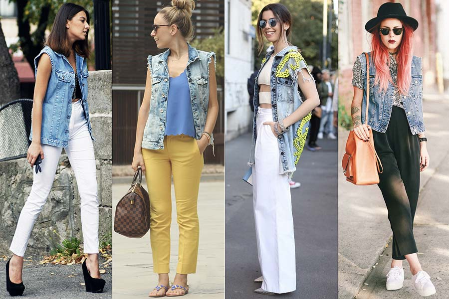 colete jeans looks diversos