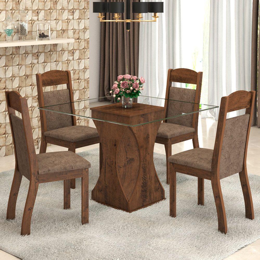 mesa marrom de jantar 4 lugares