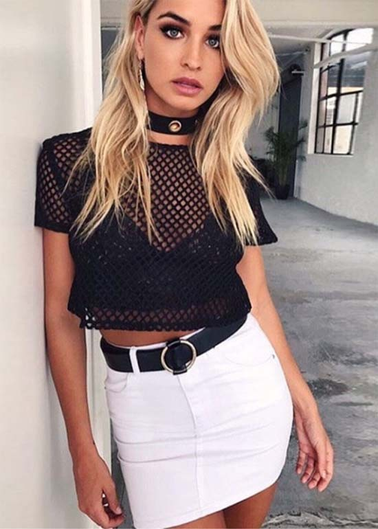 blusa transparente em telinha preta