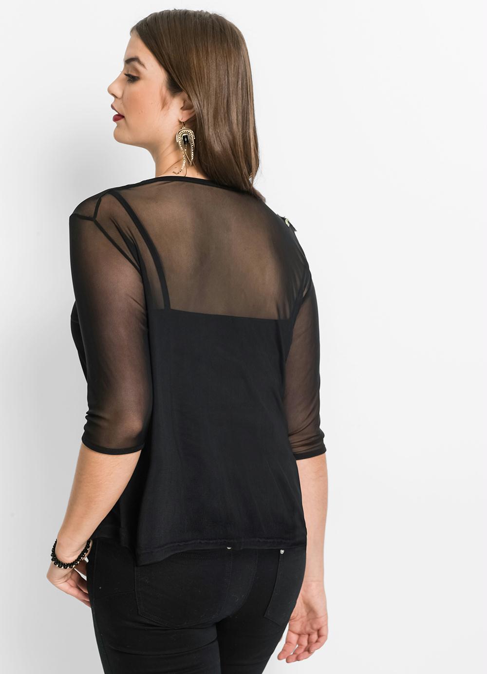 blusa preta meia manga transparente