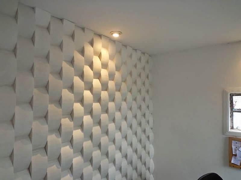 textura 3d em parede